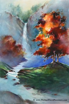 """Cascade Falls"" - Watercolor art by Michael David Sorensen.   http://www.facebook.com/michaeldavidsorensen"