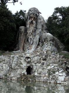 Statue of Appennino in the grounds of Villa di Pratolino in Vaglia, Tuscany