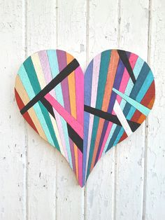 """Reclaimed Wood Wall Art, Abstract Painting, """"Splintered Heart"""",Wooden Heart, Modern, Contemporary, Painting, Wall Decor"""