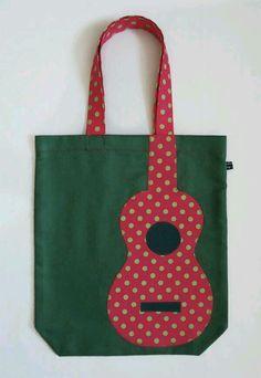Green uke tote bag with pink appliqué polka dot uke 25 via etsy Sacs Tote Bags, Tote Purse, Reusable Tote Bags, Patchwork Bags, Quilted Bag, Diy Sac, Denim Bag, Fabric Bags, Fabric Basket