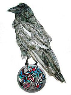 Original Art Painting - Raven Steals The Sun by K Hoover Illustrations, Illustration Art, Raven Flying, Crows Drawing, Raven Art, Raven Tattoo, Crows Ravens, Art Prompts, Rabe