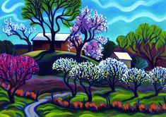 """Tracy Turner New Works Gallery.                                 """"A Chorus of Blossom"""".                                 Oil on panel."""