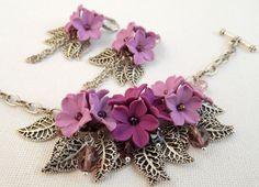 Lavender violet bracelet earrings jewelry set  by insoujewelry
