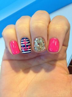 Totally Charming Nautical Nail Art IdeasYou can find Nautical nails and more on our website. Get Nails, Love Nails, Pretty Nails, Hair And Nails, Spring Nails, Summer Nails, Nautical Nail Art, Nautical Theme, Anchor Nails