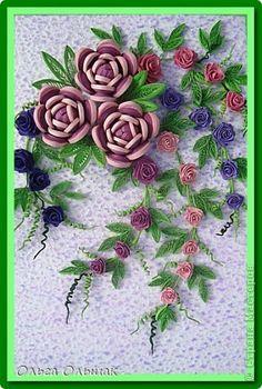 Картина, панно Квиллинг: Композиция с розами. Пастель, Проволока Начало учебного года. Фото 2