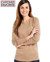 JM Collection Solid Button-Sleeve Sweater