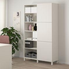BESTÅ Storage combination with doors, white, Lappviken/Stubbarp white, 47 - IKEA Soft Closing Hinges, Frame Shelf, Painted Doors, Open Shelving, Shelving Units, Tv Units, Cabinet Doors, Storage Solutions, Storage Systems