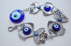 Fishes Evil Eye Wall Hanging  WHA15 by EvilEyeBAZAAR on Etsy, $25.00