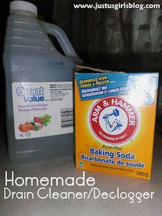 DIY: Drain Cleaner/Declogger  Ingrediants:  1/4 Cup Baking Soda  1/2 Cup Vinegar    Directions:  Pour your baking soda in your sink/tub/drain first.  Next pour in your vinegar. Let it sit for a few minutes before pouring hot water down the sink.  Drains should be good to go!