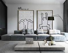 Oversized Modern Wall Art, Set of 2 Paintings on Canvas, Keith Haring Inspired, Abstract Canvas Art Set of 2 - Ethan Hill Art Large Canvas Wall Art, Abstract Canvas Art, Hand Painted Canvas, Minimalist Painting, Minimalist Art, Keith Haring, Geometric Painting, Mid Century Modern Art, Art Mural