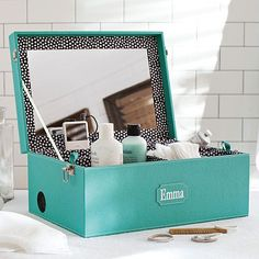 This makeup box has a dual function--store your cosmetics and toiletries and a mini stereo!