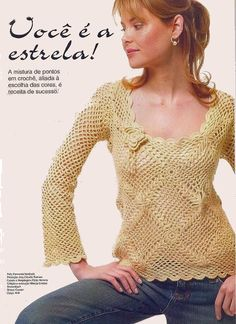 Now his is a very pretty long sleeve crochet blouse with diagrams