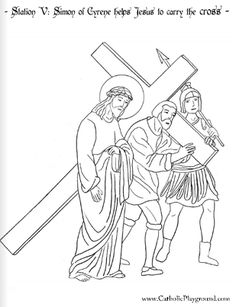 Coloring Page For The Fifth Station Of Cross Simon Cyrene Helps Jesus To