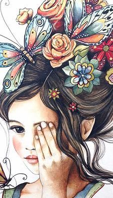 Delikatesse in der Illustration - - Girly Drawings, Art Drawings Sketches, Polychromos, Butterfly Art, Anime Art Girl, Portrait Art, Belle Photo, Cute Art, Art Pictures