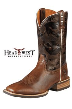 Ariat Men's Boots Hot Iron Mission Brown Saddle Cowboy Boots