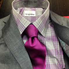 Great shirt and tie combo with a med grey suit