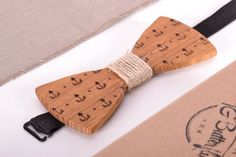 Wooden bow-tie Sea Anchor by StylishAccessoriez on Etsy