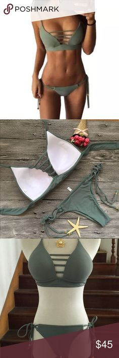 sexy army green strappy brazilian cheeky bikini BRAND NEW / NEVER WORN. Padded. cheeky / brazilian bottoms. strappy top. Not triangl, here for views. NO TRADES - MAKE ME AN OFFER :) triangl swimwear Swim Bikinis