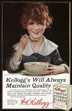 Vintage Illustrations Kelllogg ad - J. Kellogg sold thousands of boxes of corn flakes with Leyendecker's artwork. Vintage Ephemera, Vintage Postcards, Vintage Ads, Vintage Prints, Vintage Food, Vintage Kitchen, Old Advertisements, Retro Advertising, Retro Poster
