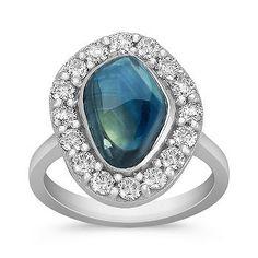 Freeform Blue Green Sapphire and Round Diamond Ring  #ShaneCoLBD