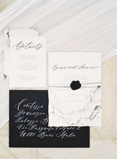 black and white wedding invitations paper suite marbled calligraphy wax seal