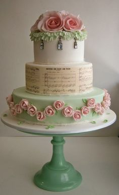 Pink & Green Wedding Cake ~ All Edible Gorgeous Cakes, Pretty Cakes, Cute Cakes, Amazing Cakes, Super Torte, Shabby Chic Cakes, Shabby Chic Wedding Cakes, Bolo Cake, Tier Cake