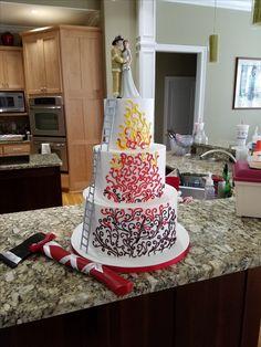 Fire fighter wedding cake by La Crème Wedding Cakes in Murfreesboro, TN