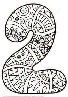 Number 2 Zentangle coloring page from Zentangle Numbers category Select from 27278 printable crafts of cartoons nature animals Bible and many Mandala Coloring Pages, Colouring Pages, Adult Coloring Pages, Coloring Sheets, Coloring Books, Kindergarten Math Activities, Preschool Art, Science Activities, Preschool Pictures