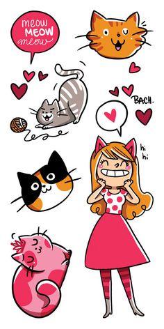 Vive les chats tatouages temporaires par Bachillustrations sur Etsy