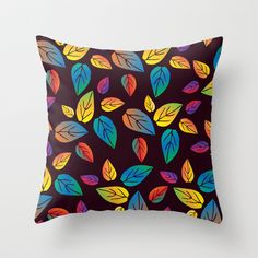 colors of leaves 1 Throw Pillow by aticnomar - $20.00