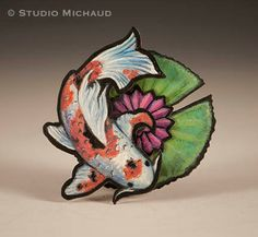 Cut copper multi-media koi and lily pad by StudioMichaud on Etsy