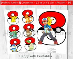 ^-^ INSTANT DOWNLOAD ^-^  Pokémon GO Number 8 Centerpieces. Great for Pokémon Party, Pokemon sweet table or Pokemon decoration.  You get: Pokemon Go Number 8 images: 6 designs 3.5 inch and 1 design 9.2 inch on 1 pdf printable (A4), 2 sheets.  SIZE CENTERPIECES: 3.5 inch up to 9.2 inch.  Great for a Pokémon party! Print as many as you like! You will receive 1 printable digital file (pdf), 2 sheets.  After purchase Etsy will send you an email with a link to your printable.  NON EDITABLE  File…