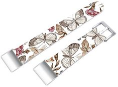 Charge 2 Bands, Leather Strap Replacement Compatible with Fitbit Charge 2 (HR) Small/Large + Elegant Beautiful Colorf... Fitbit Charge, Fitbit Flex, Charge 2 Bands, Butterfly Flowers, Floral Tie, Colorful, This Or That Questions, Elegant, Leather