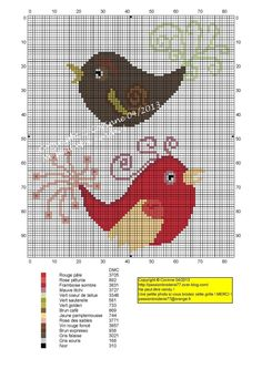 Couple Zozios (pair of birds), designed by, Le blog de Passionbroderie77 blogger, Corinne Thulmeaux.