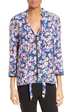 8b075ed10d5b9 Buy Tracy Reese Print Silk Blouse GRAPE online