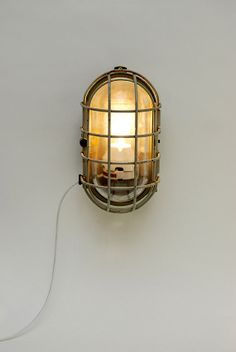 "industrial vintage wall  lamp in glass and metal 1960's:  ""Bunker giant """