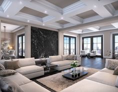 ohpopsi Photo Wallpapers & Ready Made Wall Murals High Ceiling Living Room, Dining Room Walls, Home Living Room, Living Room Designs, Luxury Living Rooms, Kitchen Living, Dream Home Design, Home Interior Design, House Design