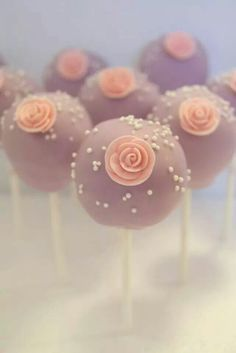 Lavender and roses wedding cake pops by Evie and Mallow
