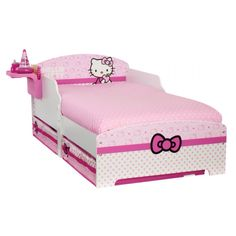 Hello Kitty Toddler Bed with Underbed Storage and Bedside Shelf Hello Kitty Bedroom Set, Hello Kitty Nursery, Hello Kitty Rooms, Cat Bedroom, Kids Bedroom, Bedroom Ideas, Toddler Bed With Storage, Toddler Bed Frame, Under Bed Storage