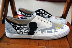 Getting ready for the #sherlockevent with Custom Sherlock Holmes Painted Shoes ?? Grab your shoes, now! {Click photo for link!} #paintedshoes