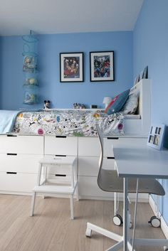 Ikea Hack Children's bedroom makeover. Cabin bed midsleeper bed using Nordli chests of drawers and DIY MDF Desk on Ikea desk legs on castors #interior design #makeover