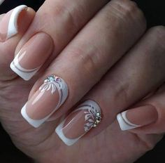 19 Easy and Beautiful Nail Art Designs 2019 just for you trendy nail designs attracted the craze of most women and girls. Nail Art Designs offers a multitude of v … Nail Styles French Manicure Nail Designs, French Nail Art, Nail Art Designs, Dark Nail Designs, Elegant Nails, Stylish Nails, Fancy Nails, Cute Nails, Nails Design With Rhinestones