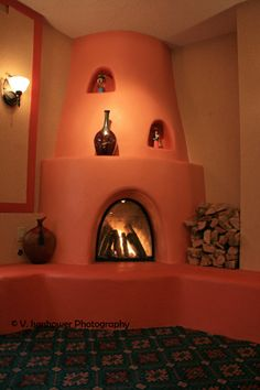 A Santa Fe Kiva Style Fireplace.
