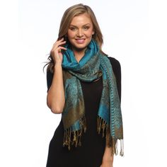 Teal/ Gold Reversible Braided Fringe Shawl Wrap (€14) ❤ liked on Polyvore featuring accessories, scarves, braided scarves, teal scarves, reversible scarves, woven shawl and wrap scarves