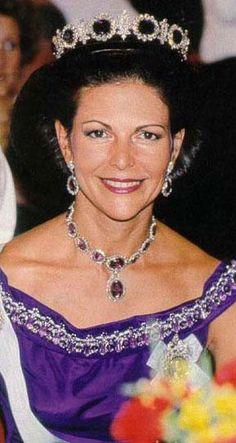 Queen Silvia of Sweden wearing the Amethyst Parure