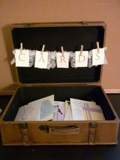 Cute way to collect wedding cards so they won't get lost on the gift table