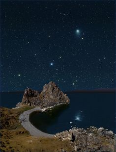 Night sky of Olkhon Island, Lake Baikal, Russia,