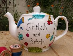 Stitch and Bitch Teapot Fun sewing gift great for your knitting group club Personalised custom