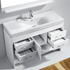 "Gemma Single 48"" White Vanity"