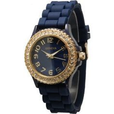 Navy Goldtone Silicone Watch w/ Rhinestones Face Bling Ceramic Look ** You can get additional details at the image link.